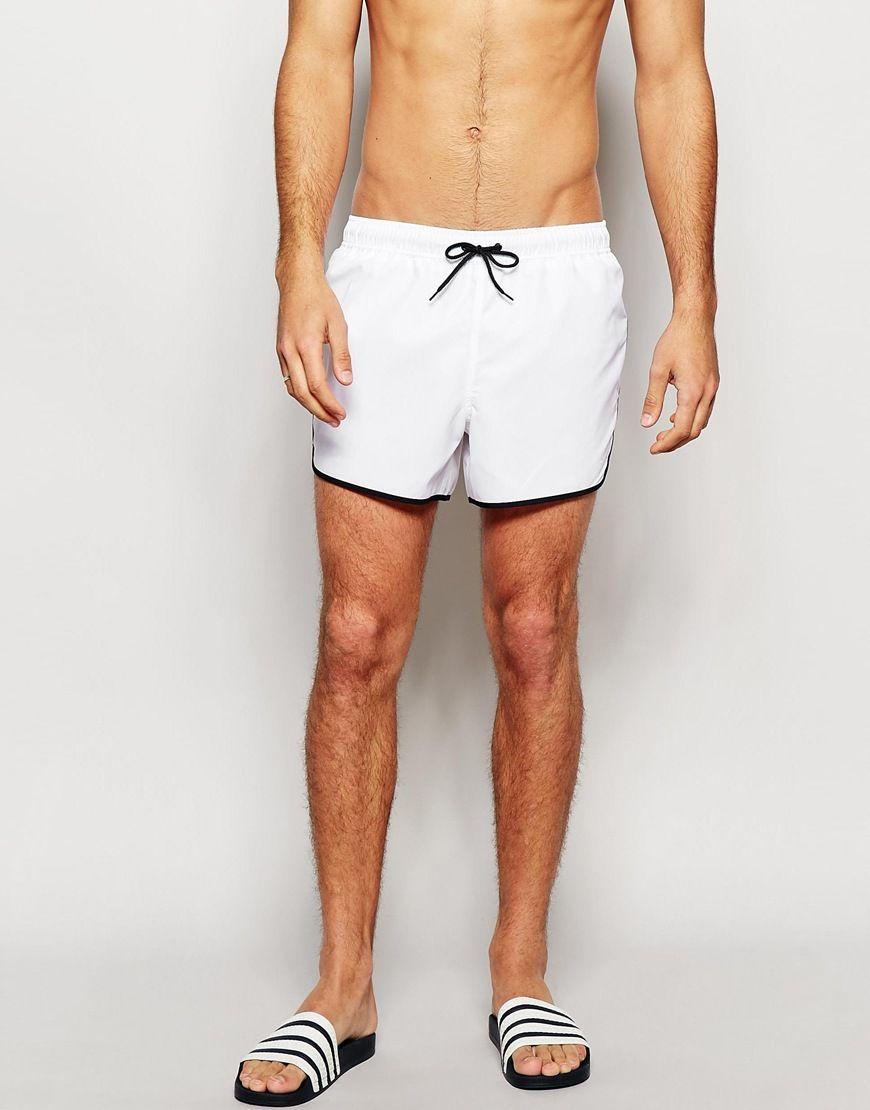 ASOS Runner Swim Shorts In White Short Length at asos.com