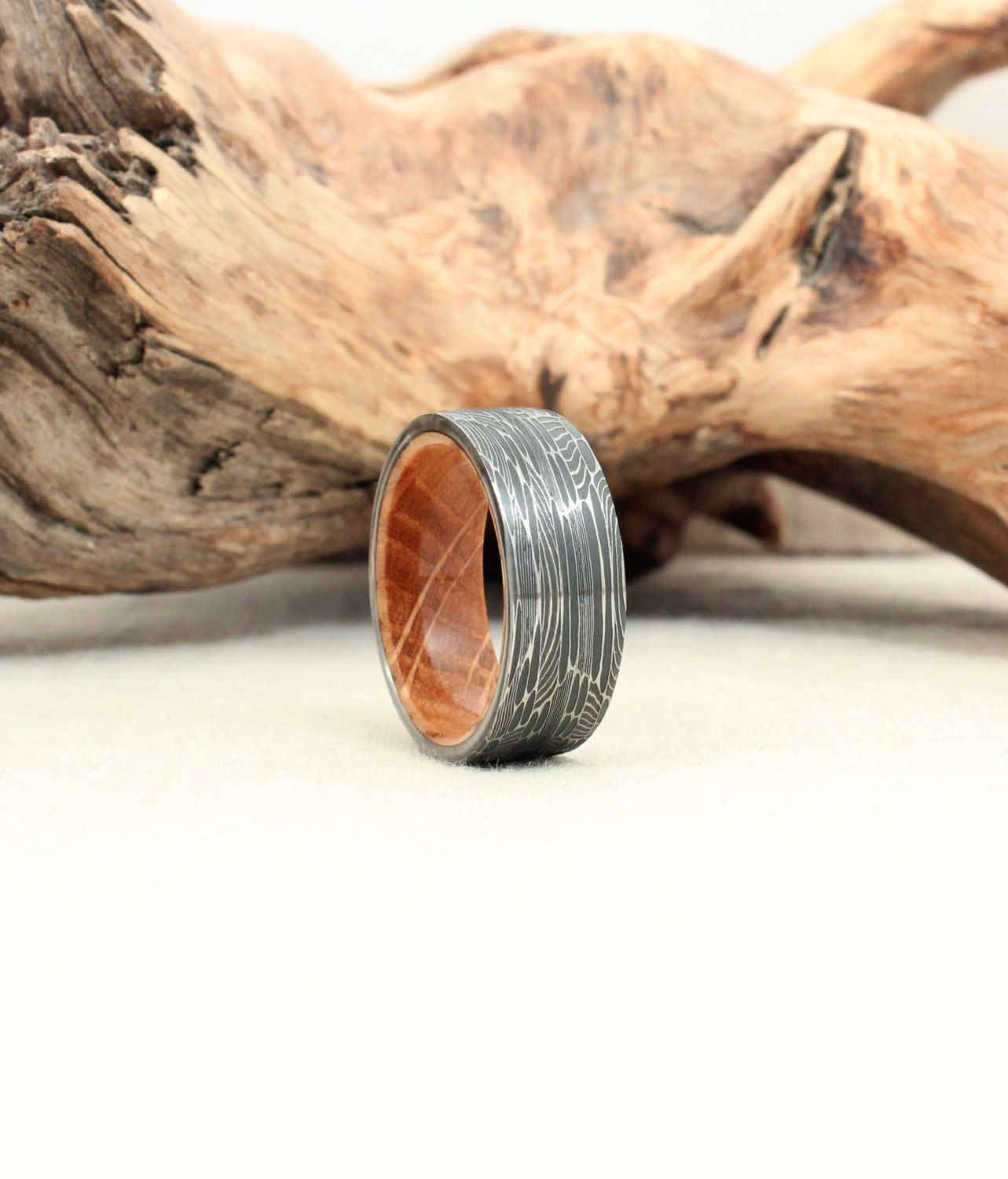 Damascus Steel and Wood Ring Bourbon Barrel White Oak Stave Wood
