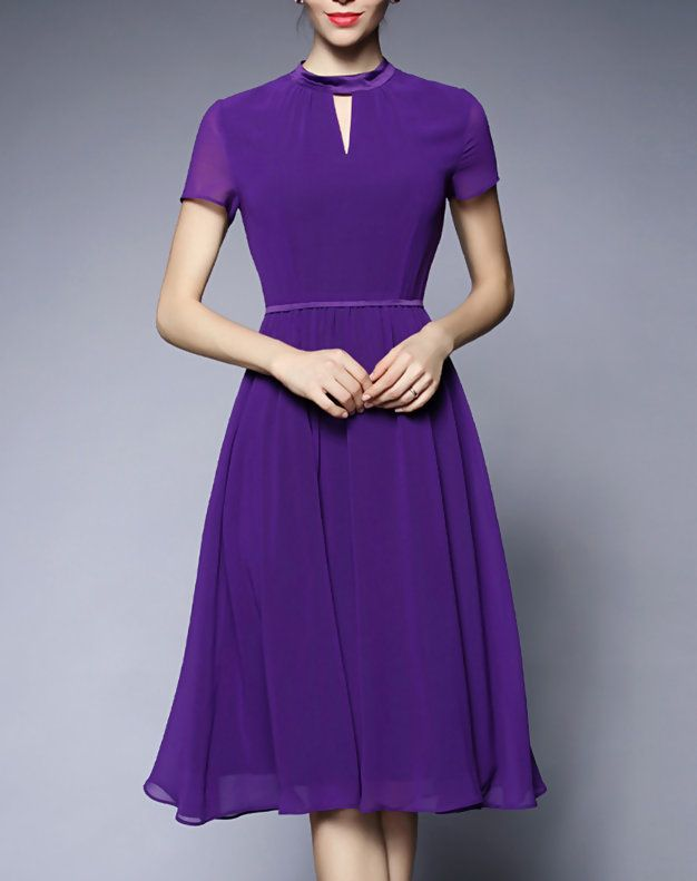 Vintage Purple Chiffon Swing Midi Dress | robes en chiffon ...