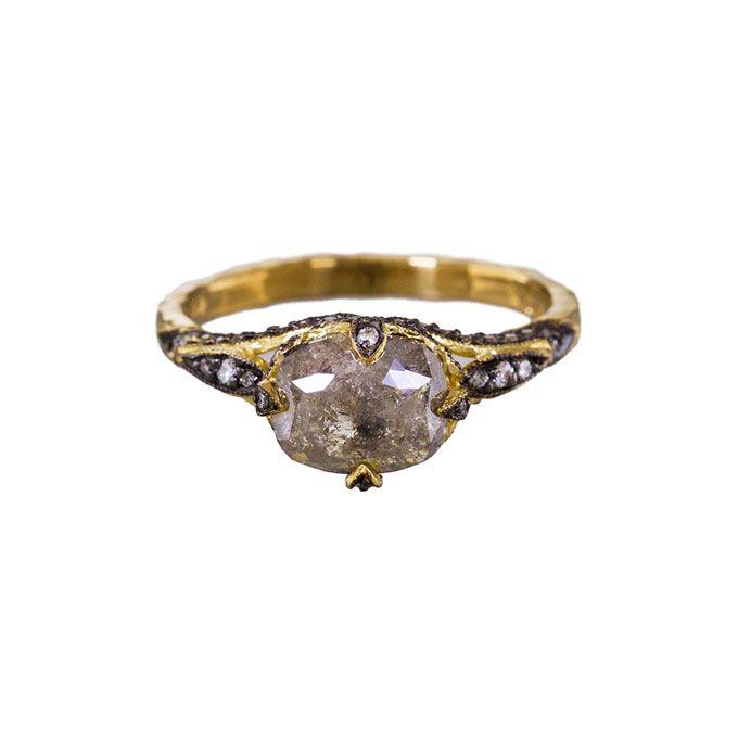 Cathy Waterman Rustic Diamond Petalside Ring Raw Diamond Engagement Ring    Brides.com