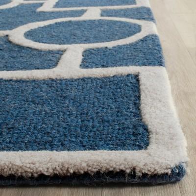 Sumner Texture Wool Rug Navy Blue Ivory 6 X 6 Square Safavieh Blue Ivory Navy Rug Ivory Rug Wool Area Rugs