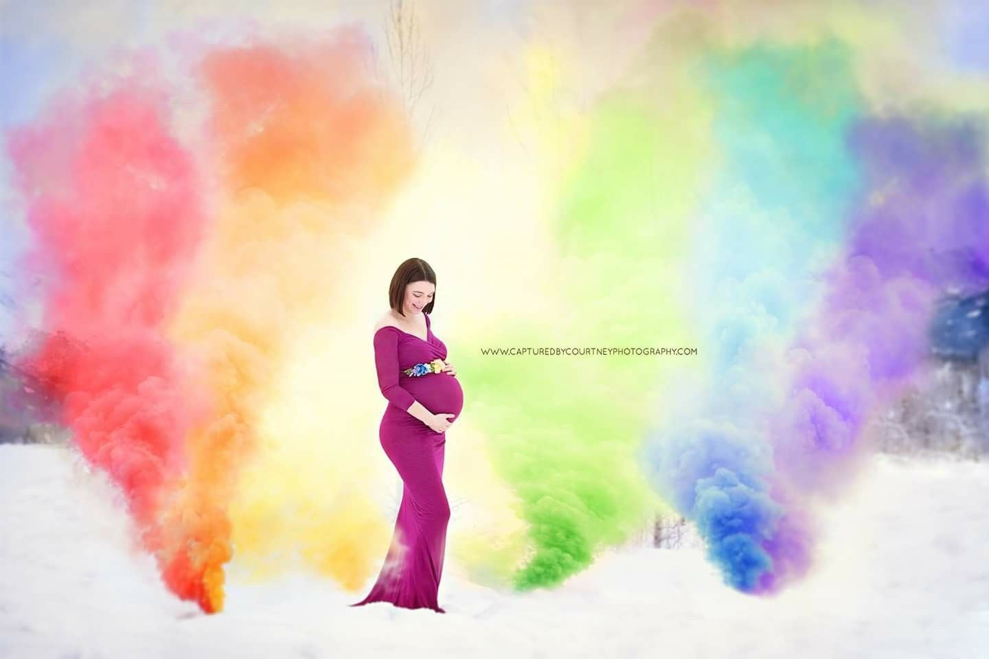 fd344a9293 Smoke bomb rainbow baby photo!