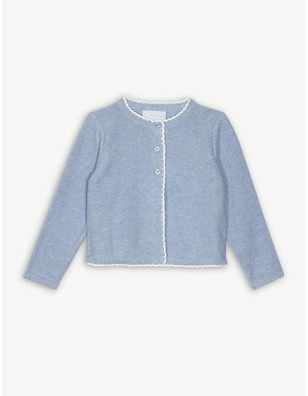 1633368fc508e The Little White Company Crochet trim knitted cotton cardigan 1-6 years