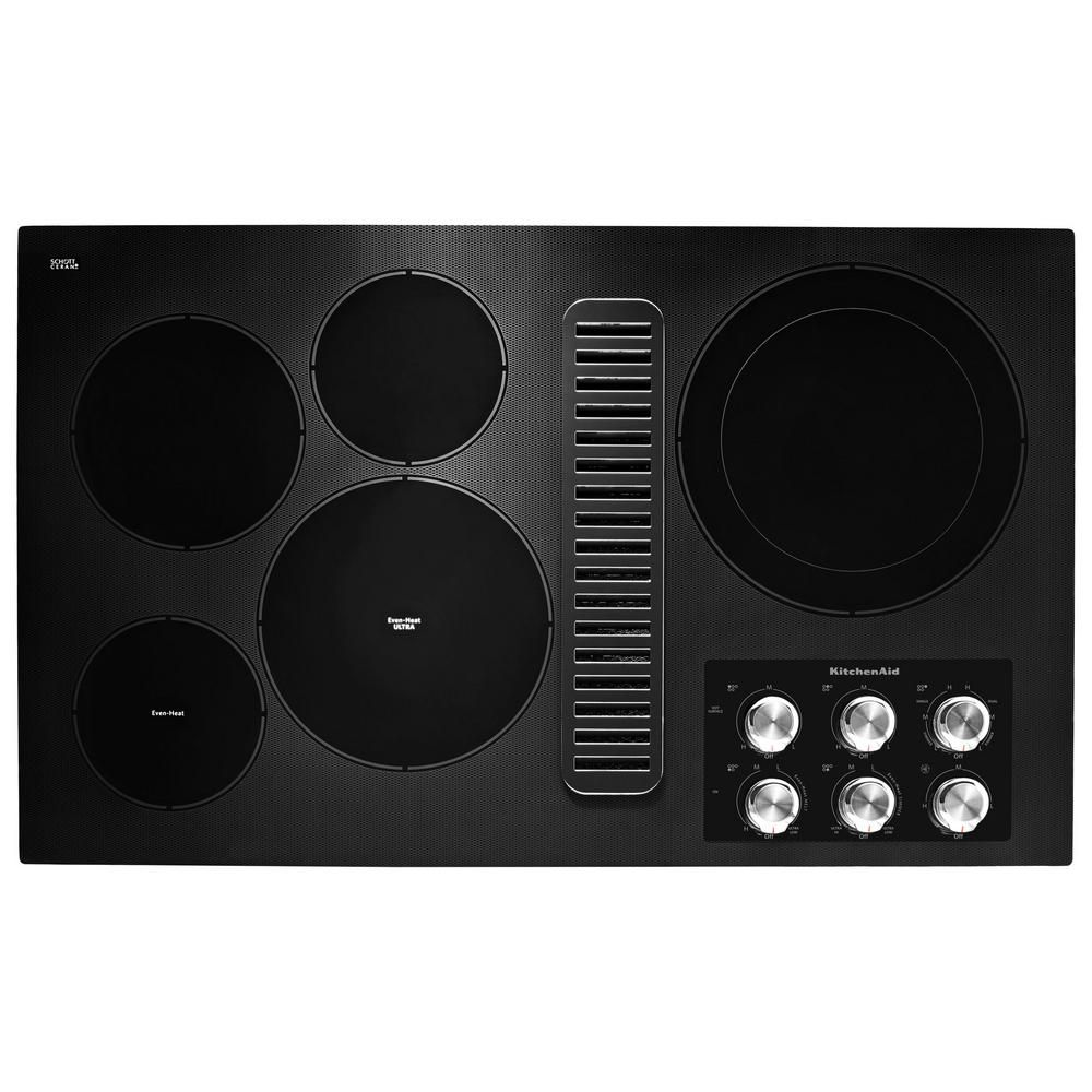 Kitchenaid 36 in radiant electric cooktop in black with 5