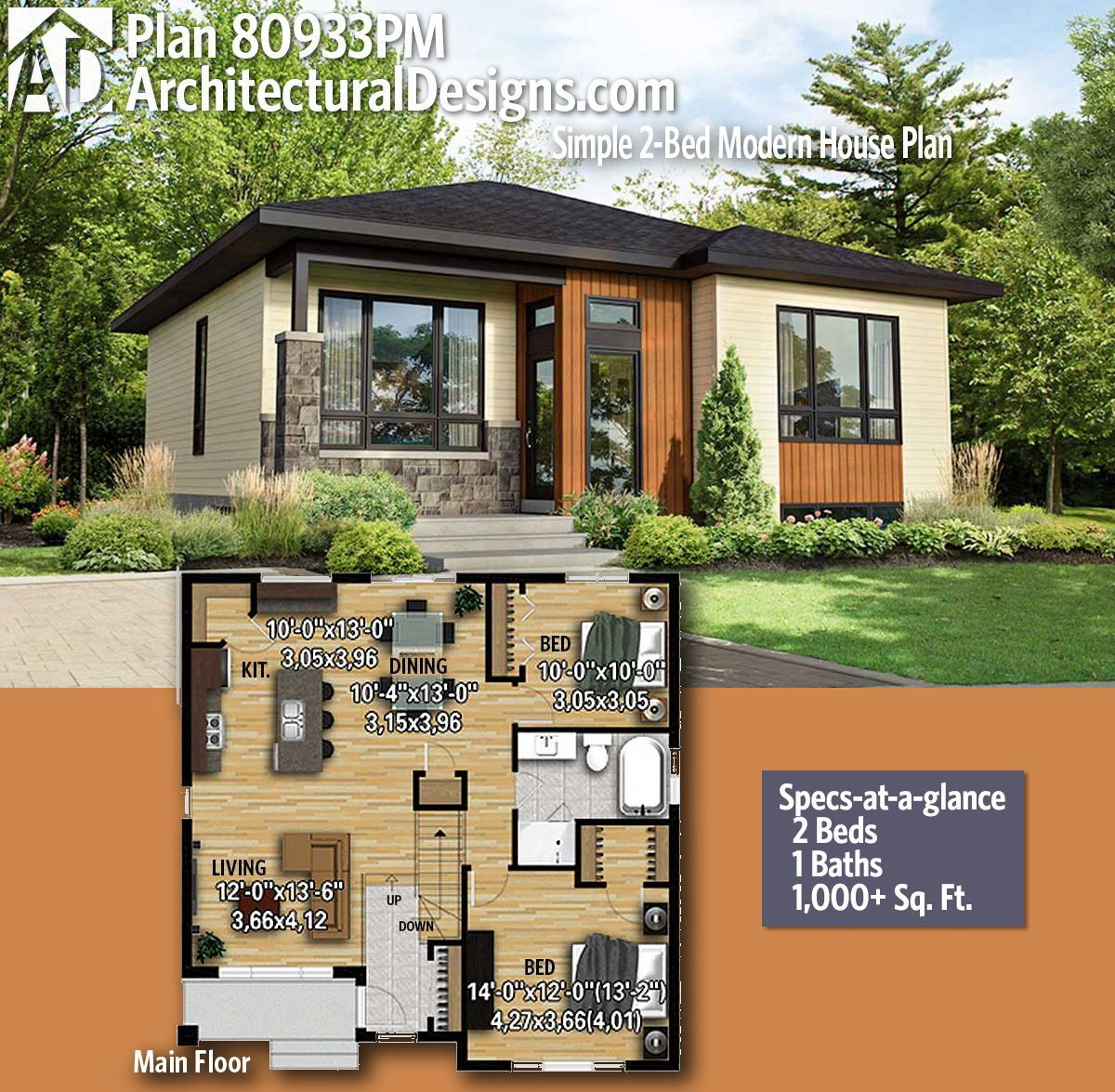 Plan 80933pm Simple 2 Bed Modern House Plan Modern House Plans
