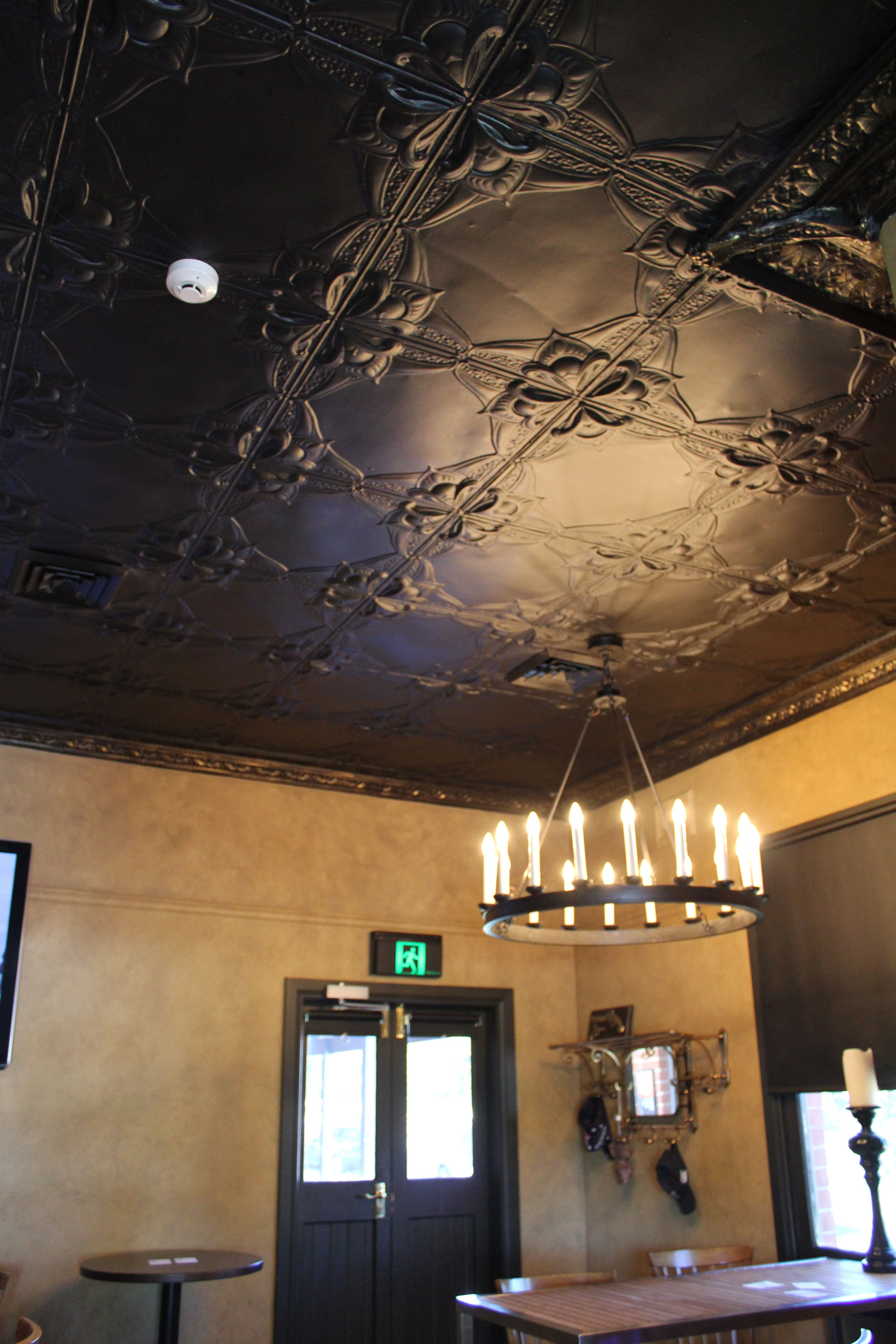 Pressed Tin Ceiling Add Drama By Painting Panels A Dark Colour