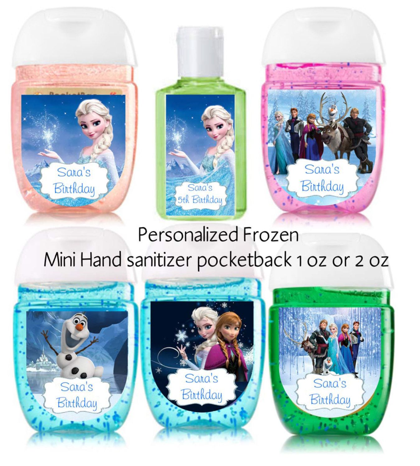 Frozen Hand Sanitizer Label 1 Oz Or 2oz Birthday Party Favor