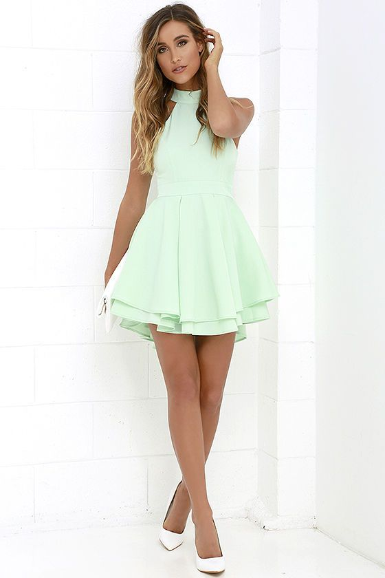 16336437e0f7 When the spotlight falls on you, you'll be grateful to be donning a number  as cute as the Dress Rehearsal Mint Green Skater Dress!