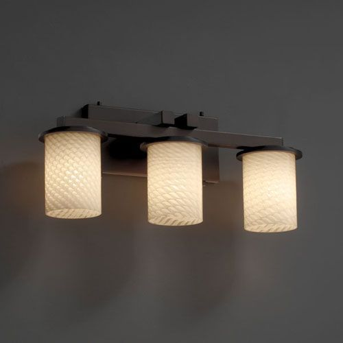 Justice Design Bathroom Lighting Justice Design Group Fusion Dakota Threelight Dark Bronze