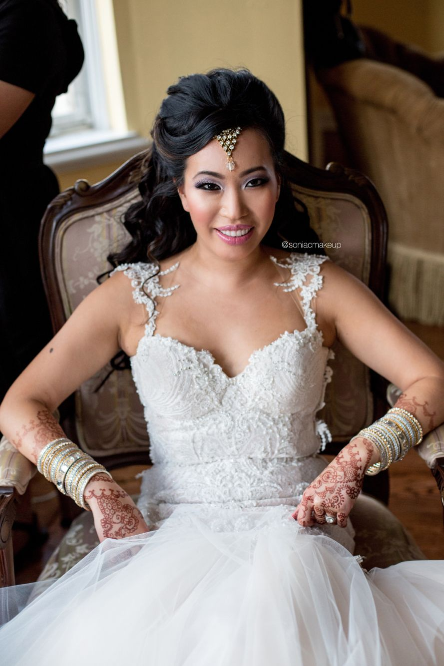 Asian wedding dresses white and purple