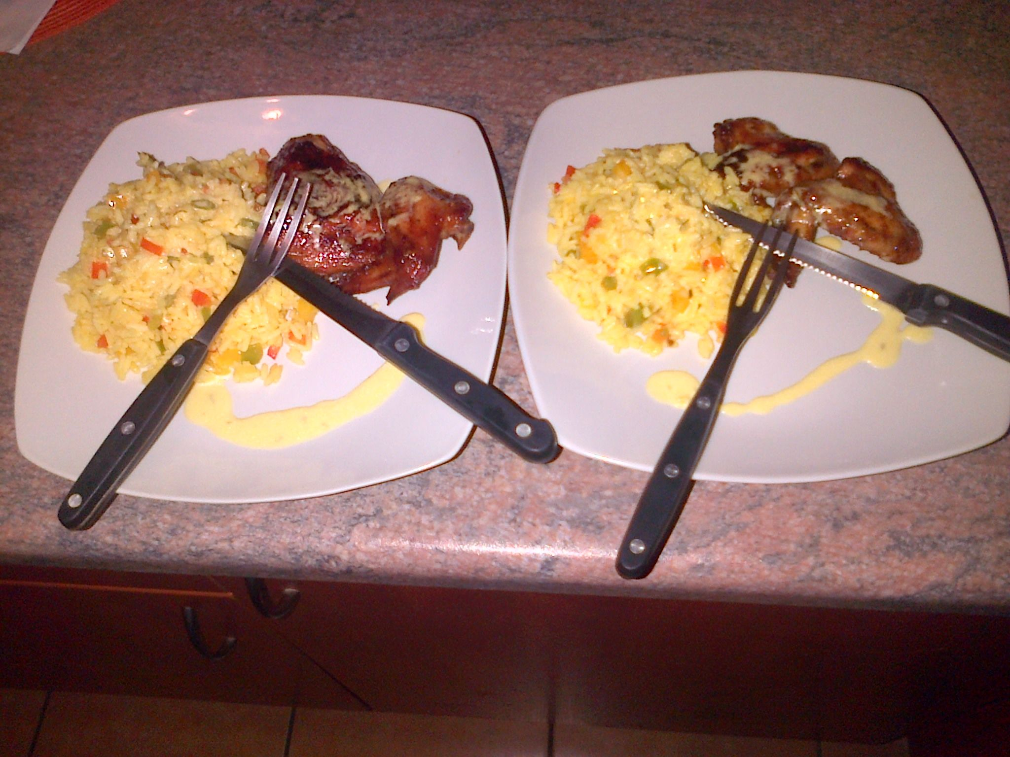 BBQ Chicken and savoury rice with lemon butter sauce