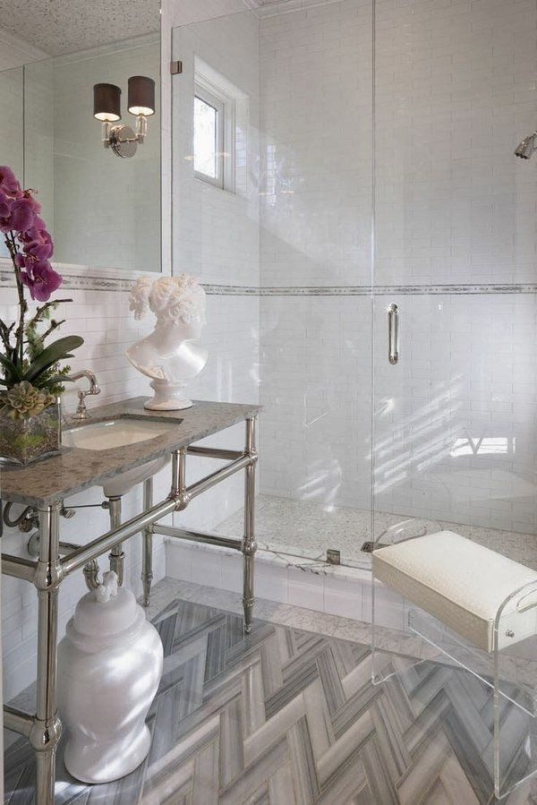 Pros And Cons Of White Marble Tile pros cons frameless shower doors modern bathroom walk in shower console  sink statuette