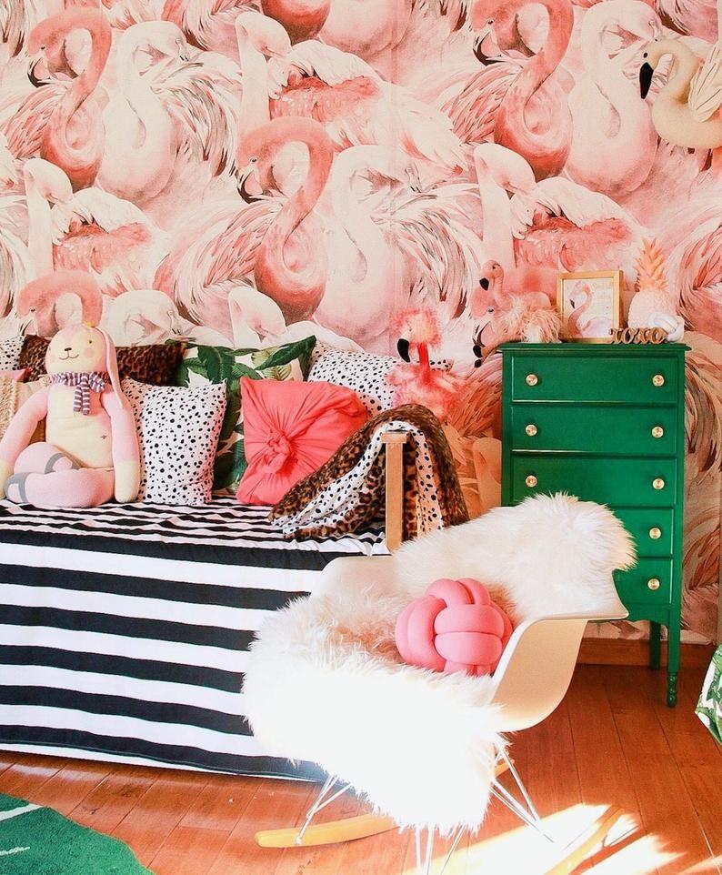 Flamingo Wallpaper Tropical Pink Wall Mural Custom Printed Etsy Flamingo Wallpaper Pink Walls Pink Flamingo Wallpaper