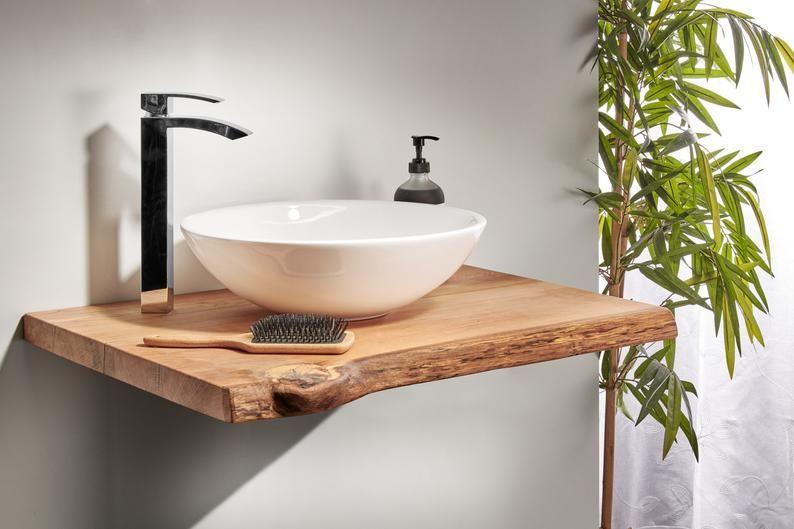Waschtischplatte Holz Waschtisch Eiche Geolt Waschtischkonsole Etsy In 2020 Wash Basin Solid Wood Unique Furniture
