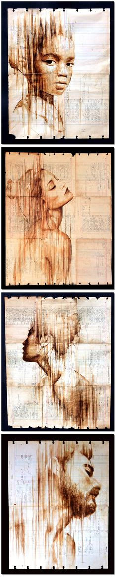 Food Art_Portraits Painted With Coffee on Antique Ledger Paper                                                                                                                                                                                 More