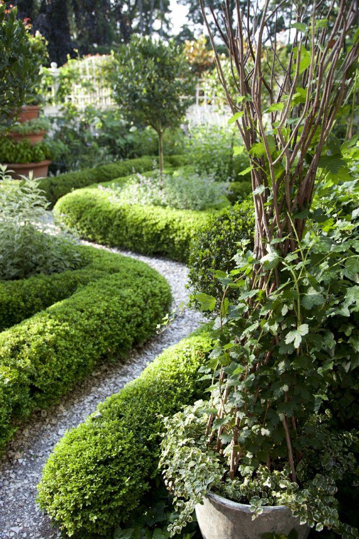 ein Pfad von Kies mit Hecke umgeben ein Zierstrauch Vorgarten
