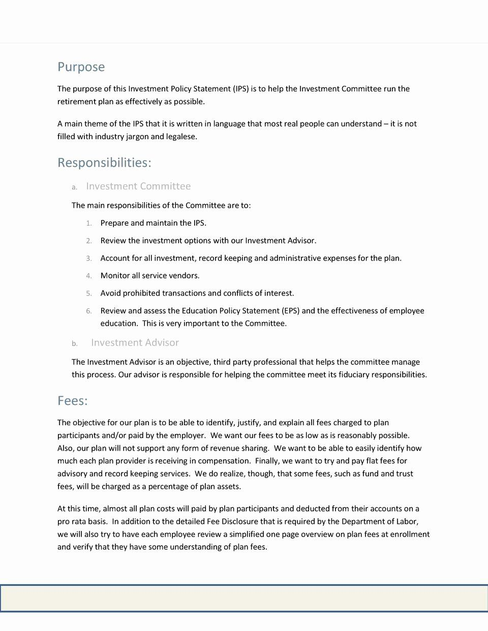Investment Policy Statement Template In 2020 Statement Template