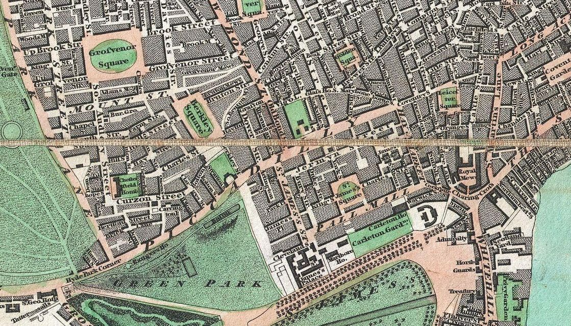 The Mall London Map.1806 Map Of St James In Westminster London Showing South Mayfair