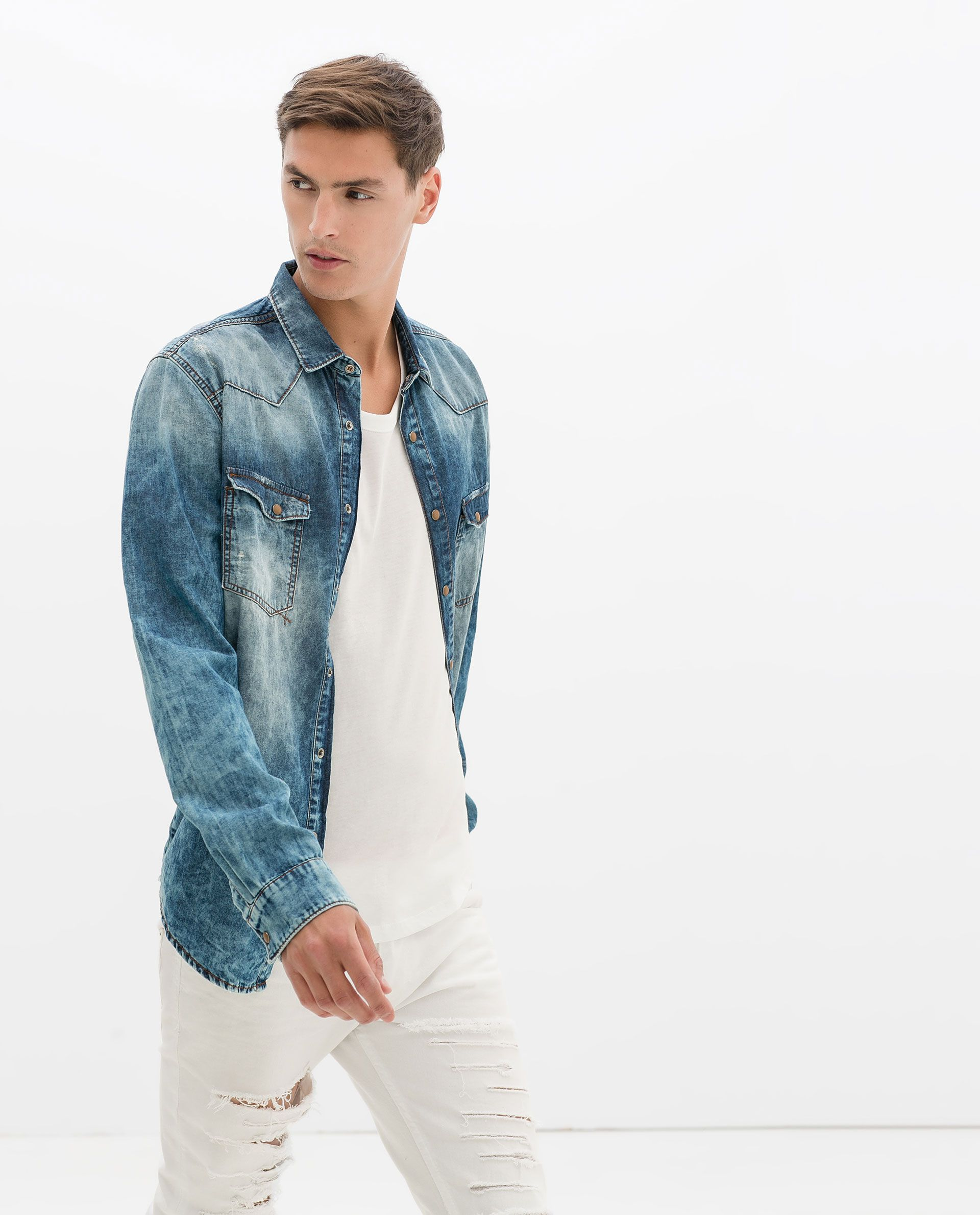cb4b7705 Zara MAN. - Washed Denim Shirt Paired w/ white ripped skinny jeans & a