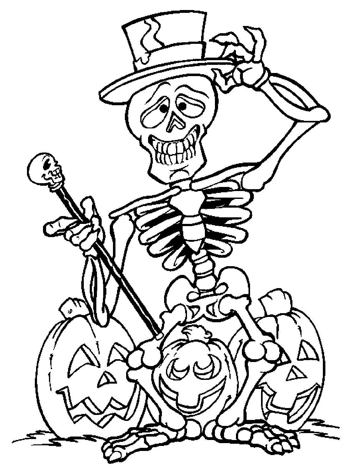 Хэллоуин и скелет - razukrashki.com | Halloween coloring pages ...