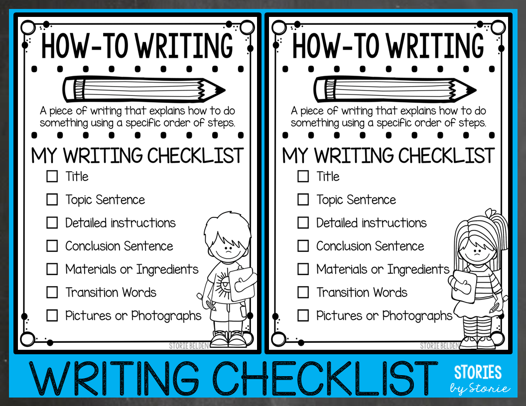 Editing Checklist for Writing, First Grade and Second Grade ...