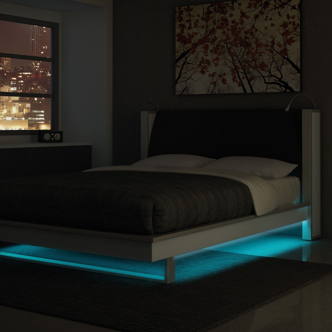122 Reference Of Led Light Bedroom Furniture In 2020 Bed With Led Lights Furniture Bedroom Lighting