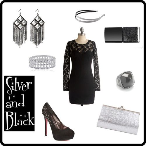 Silver Accessories With A Black Lace Dress Fashion Dress