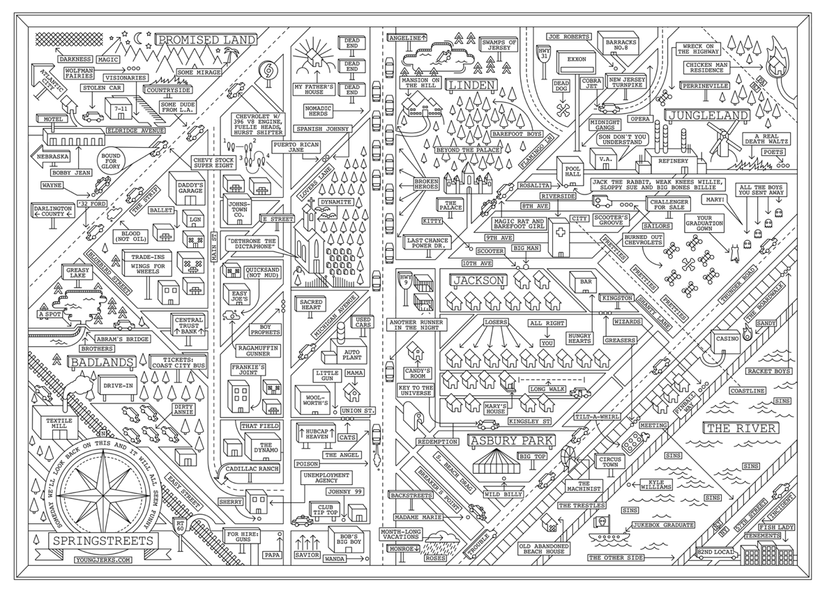 100 Modified Maps   Bruce springsteen, Bruce springsteen ... on