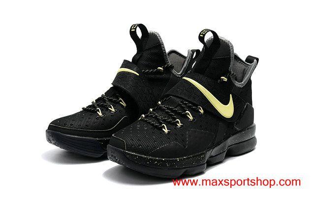 85acfde6d10 Nike LeBron 14 Night-luminous Black Safety Yellow Signature Basketball Shoes