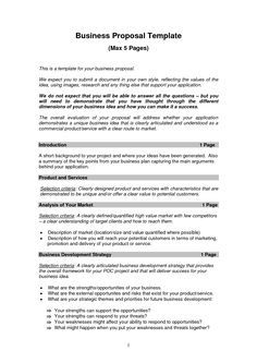 Free Printable Business Proposal Form Generic Business