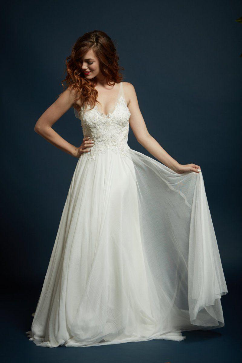 Deep V Chiffon French Lace Wedding Dress