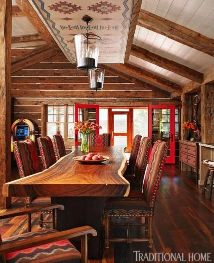 Most Lucrative Dining Room Interior Design Ideas To Beauty: Live Edge Table, Pendleton Fabric Chairs, Love This Dining