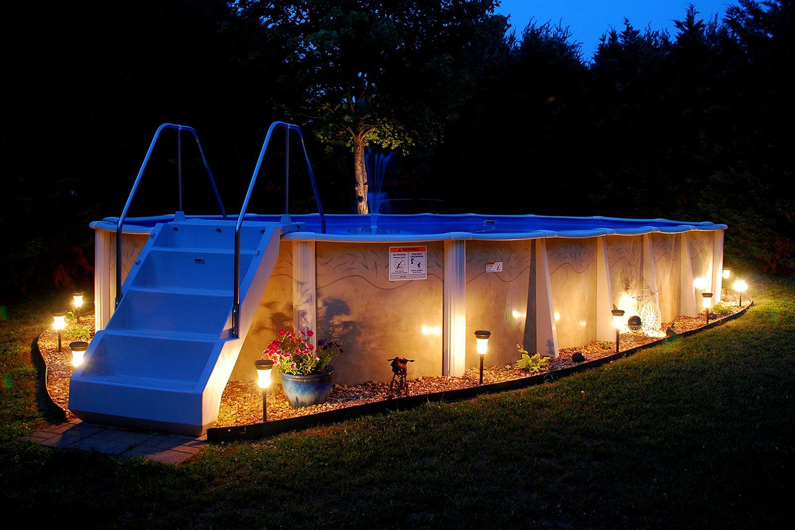 Top 37 diy above ground pool ideas on a budget main for Garden pool lights