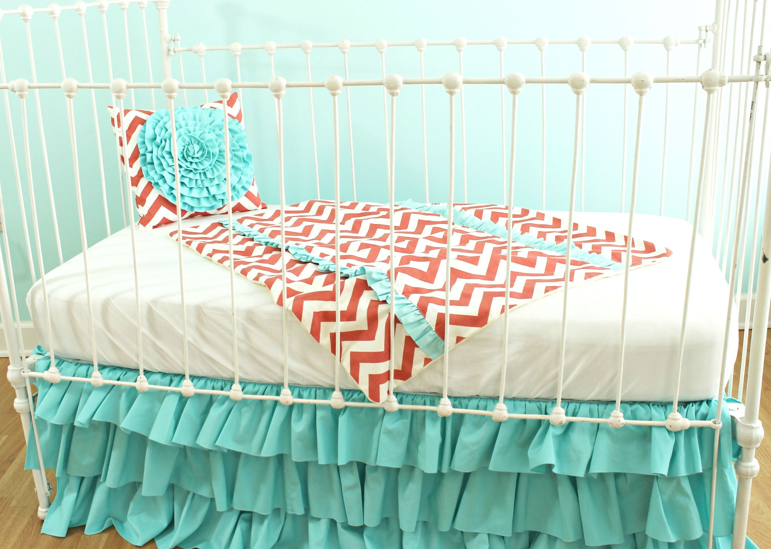 coral and aqua nursery Google Search great crib skirt