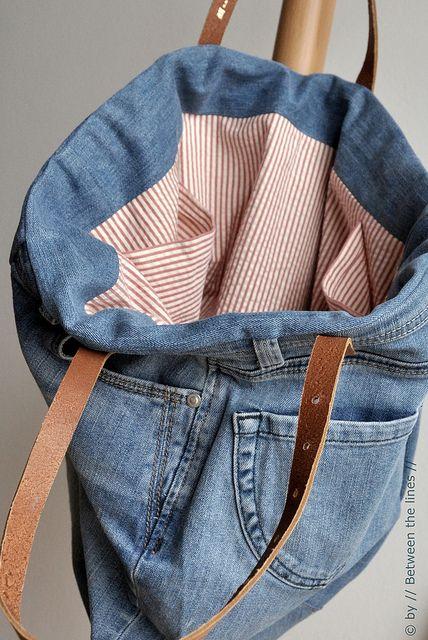 tutoriel pour un sac fourre tout fabriqu s partir de vieux jeans recycl s couture. Black Bedroom Furniture Sets. Home Design Ideas
