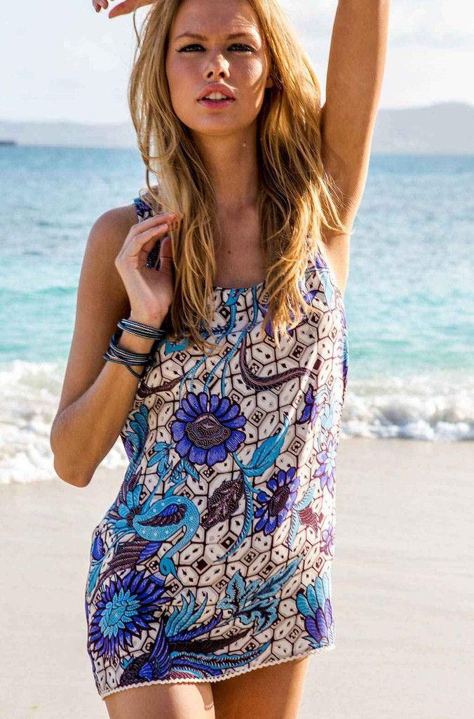 Sauvage Indian Summer Silk Print Dress | Silk Beach Cover Up ...