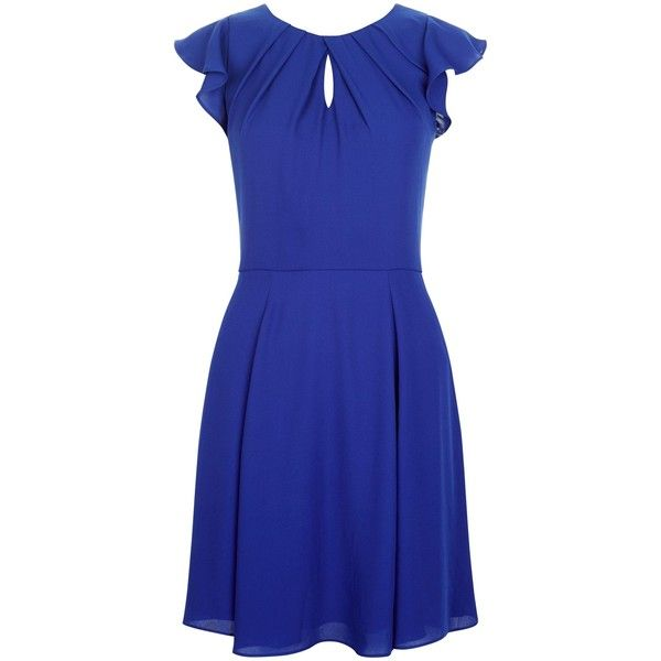 d5f2f7c2fc2f New Look Blue Flutter Sleeve Skater Dress 31 liked on Polyvore