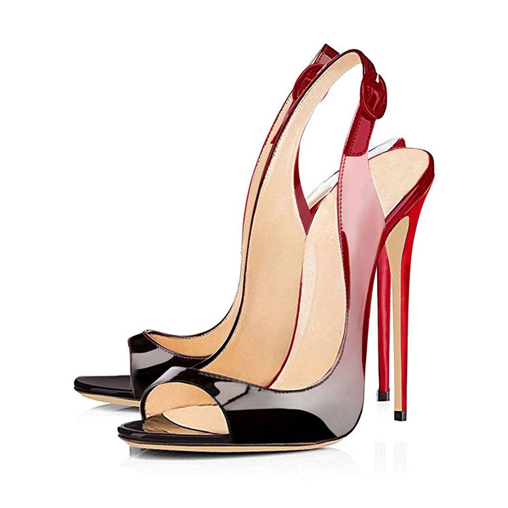 53f8ddc3aff5 Merumote Women s Patent Slingbacks High Heel Stilettos Peep Toe Pumps  Sandals
