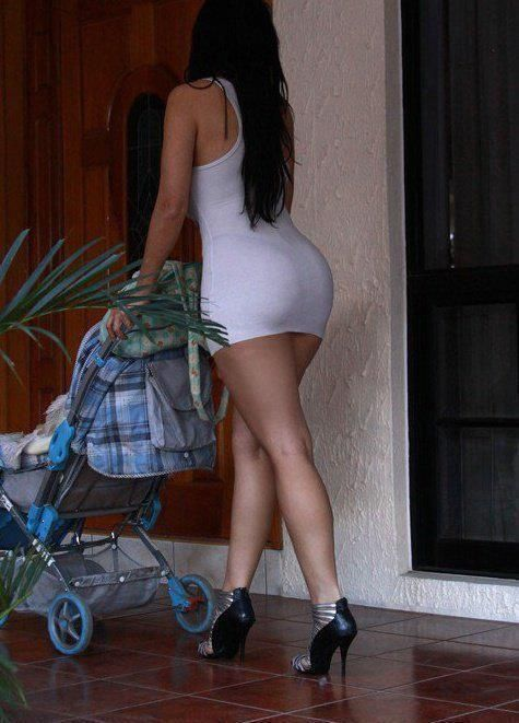 sexy young mom in tight white dress have amazing tight big hot butt