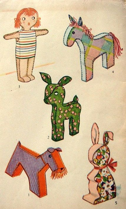 Vintage 1950\'s Stuffed Toy Pattern 4815. $5.99, via Etsy. | soft ...