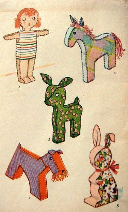 Vintage 1950\'s Stuffed Toy Pattern 4815. $5.99, via Etsy. | soft ...