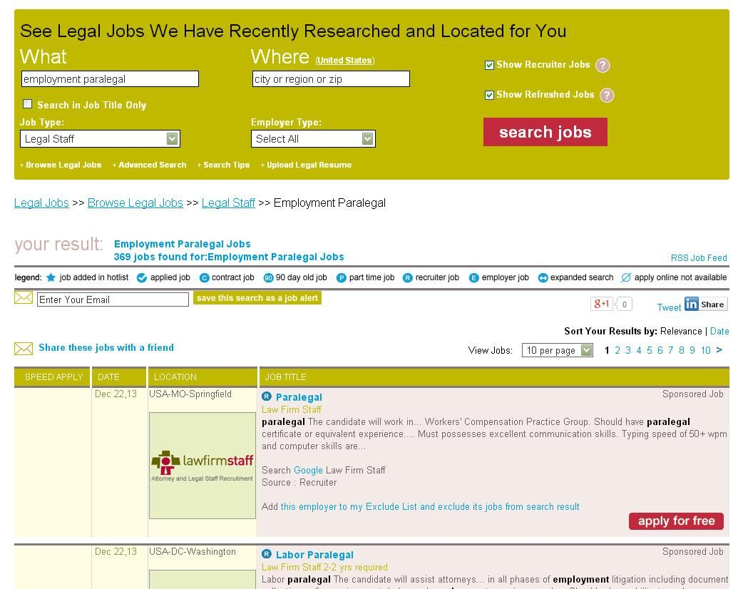 Search For Employment Paralegal Jobs On LawcrossingCom  Search