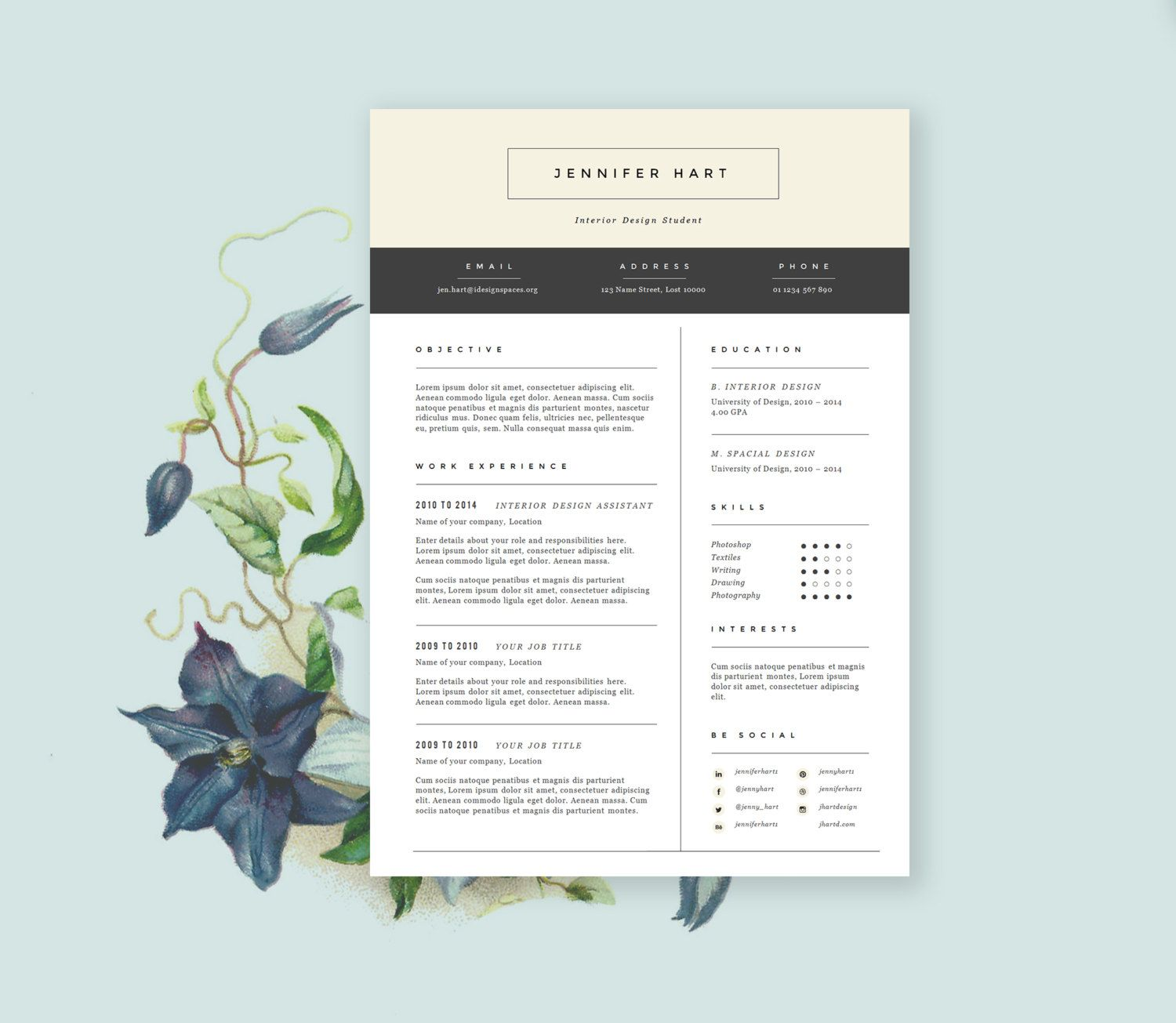 Resume Template With Cover Letter In Down To Earth By Landedco