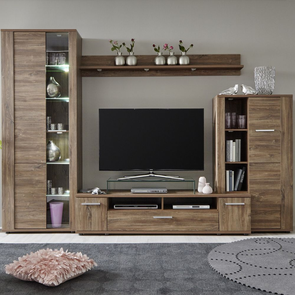 Wohnwand Kombination Rustico Akazie dunkel - Trend Team - Möbel ...