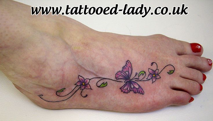 3553ab9759712 Butterfly and swirls foot Tattoo by Tattooed Lady | Tattoo ...