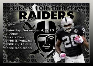 Nfl Oakland Raiders Birthday Invitation Stevens Birthday