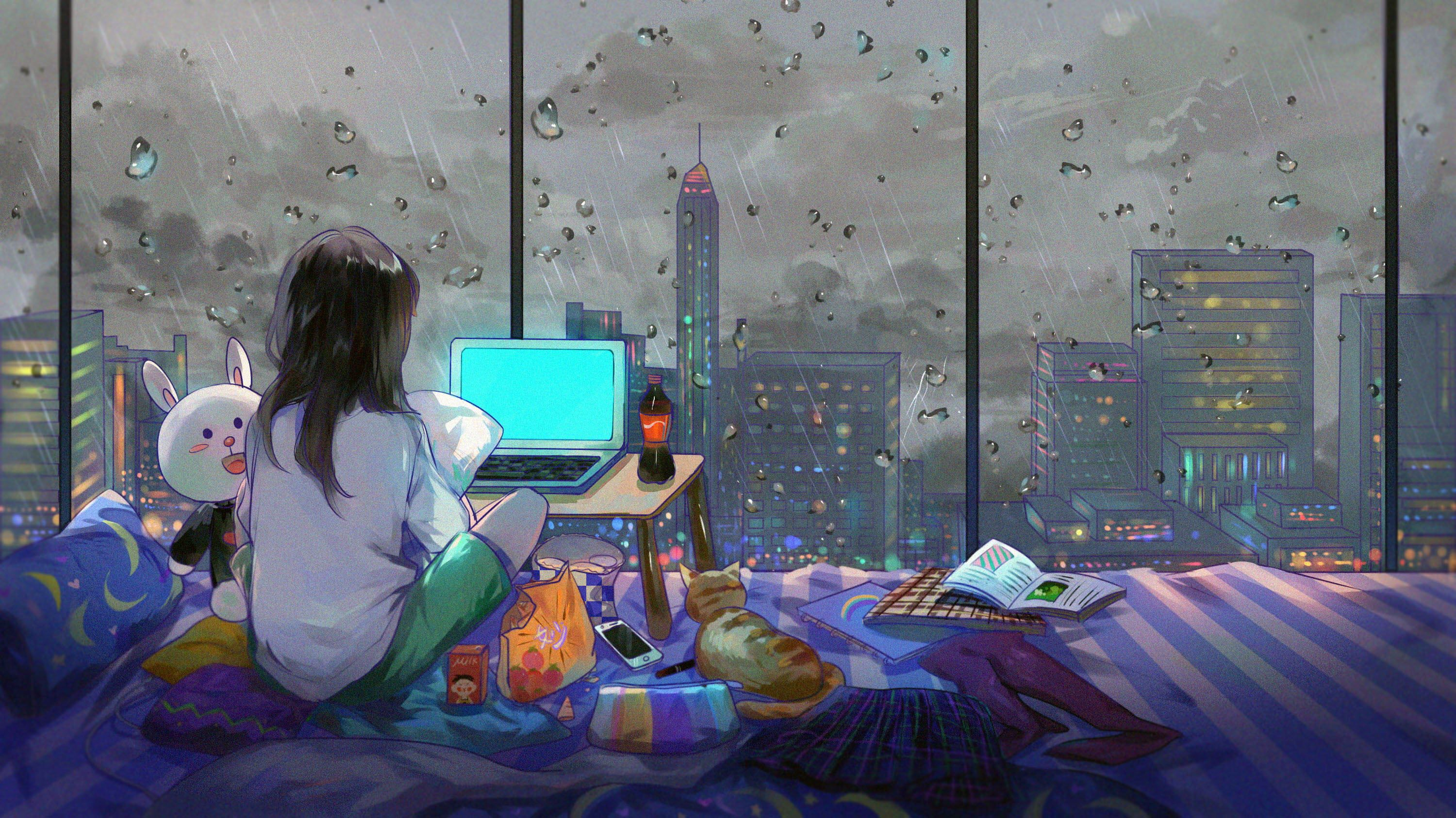 Girl Sitting On Bed Watching Laptop Computer Illustration Artwork City Anime Girls Room Anime Wallpaper Aesthetic Desktop Wallpaper Anime Computer Wallpaper