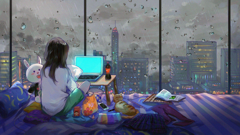 Girl Sitting On Bed Watching Laptop Computer Illustration Artwork City Anime Girls Room 2k Wal Desktop Wallpaper Art Anime Wallpaper Cute Laptop Wallpaper