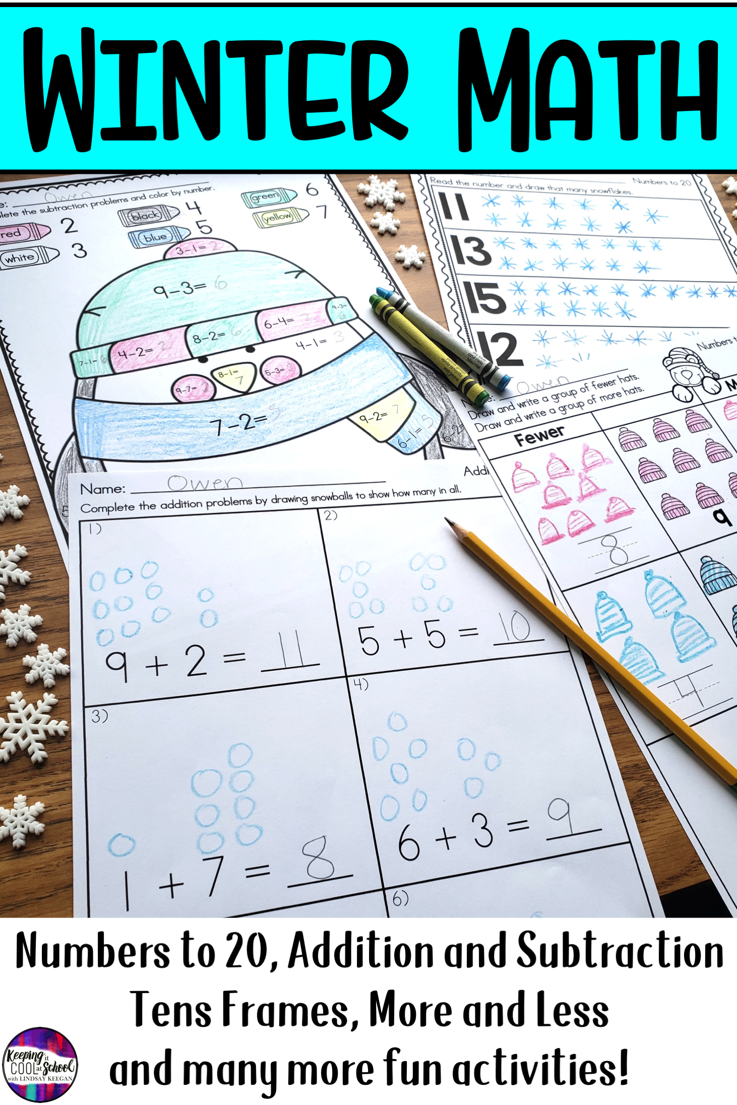 Winter Math Worksheets For Numbers Addition And