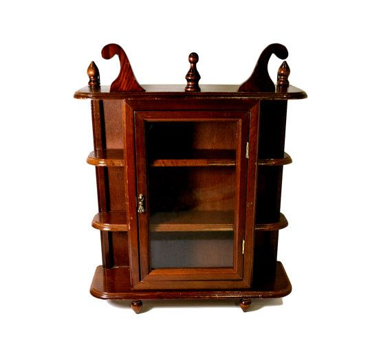 Antique Wooden Small Curio Cabinet Glass Door Collectible Display